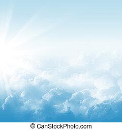 blauwe hemel, en, wolken