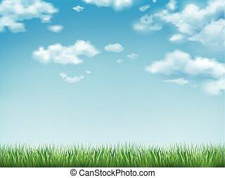 blauwe hemel, gras, groen veld