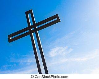 blauwe hemel, kruis, tegen