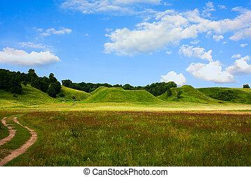 blauwe hemel, lente, heuvels, gras, groene