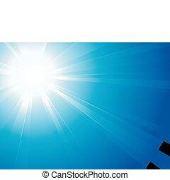 blauwe hemel, licht, s, zon, schril