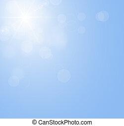 blauwe hemel, met, de, zon het glanzen, zonder, wolken