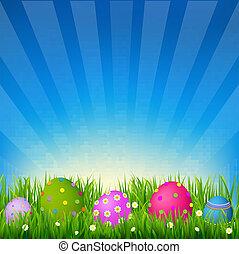 blauwe hemel, met, gras, pasen, kaart