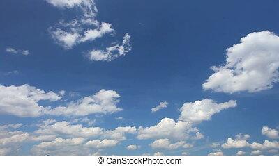 blauwe hemel, met, partij, wite wolken, mov