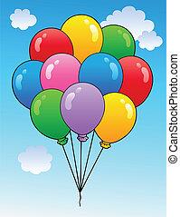 blauwe hemel, met, spotprent, ballons, 1