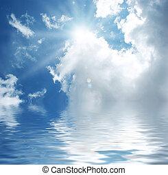 blauwe hemel, met, water
