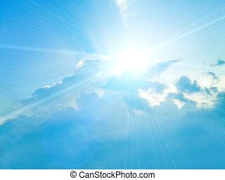 blauwe hemel, met, wite wolken, achtergrond