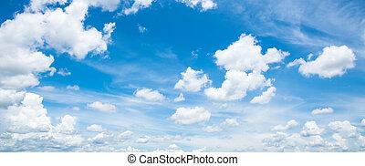 blauwe hemel, met, wite wolken, in, zomer