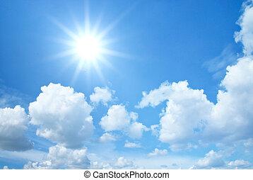 blauwe hemel, met, wolken, en, zon