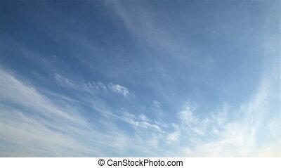 blauwe hemel, met, wolken