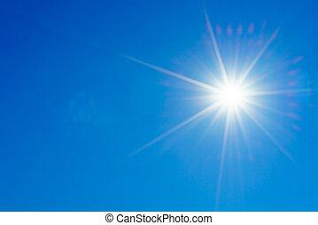 blauwe hemel, met, zon