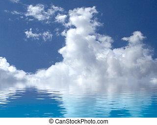 blauwe hemel, op, morning., een, hemel, van, wolken, weerspiegelde in, een, kalm, sea.