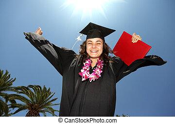 blauwe hemel, op, zonnig, diploma, afstuderen, vrouwlijk