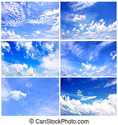 blauwe hemel, set, verzameling, daglicht, zes