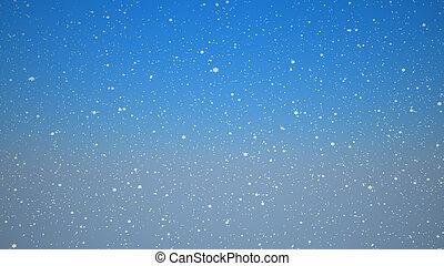 blauwe hemel, sneeuw