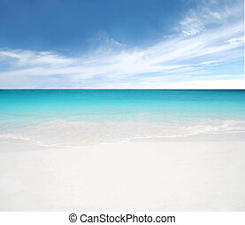 blauwe hemel, strand, schoonmaken