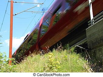 blauwe hemel, vasten, trein, verhuizing, gras, rood
