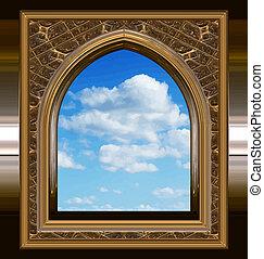 blauwe hemel, venster, gotisch, scifi, of
