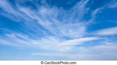 blauwe hemel, wolken, achtergrond