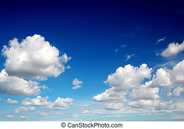 blauwe hemel, wolken, zoals, katoen