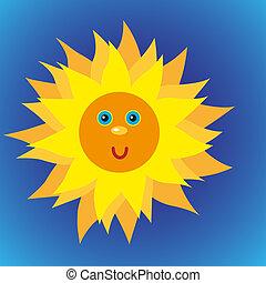 blauwe hemel, zon, glanzend