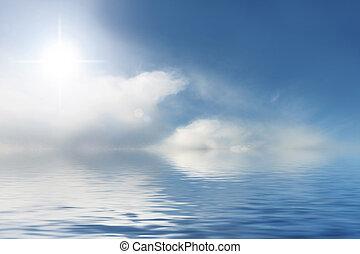 blauwe hemel, zonnig, achtergrond, water