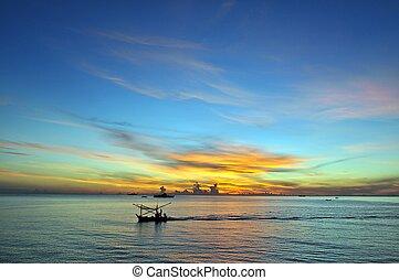 blauwe hemel, zonopkomst, oceaan