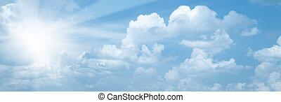 blauwe hemelen, met, heldere zon, als, abstract, achtergronden