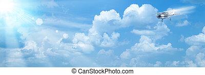 blauwe hemelen, met, heldere zon, en, vliegtuig, als, abstract, achtergronden
