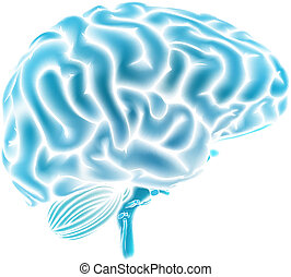 blauwe , hersenen, gloeiend, concept