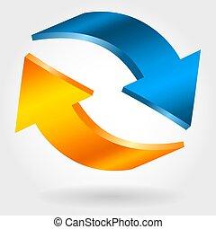 blauwe , herstel, verwisselen, toonbank, symbool., arrows., sinaasappel, photorealistic, 3d, illustration.