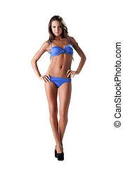 blauwe , het baden, prachtig, het poseren, kostuum, model