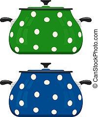 blauwe , het beeld van de kleur, utensils., spotprent, achtergrond., vector, groene, pan, pots., keuken, wit rood, liggen