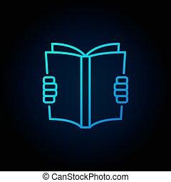 blauwe , het boek van de lezing, pictogram
