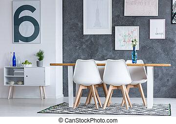 blauwe , het dineren, communie, kamer
