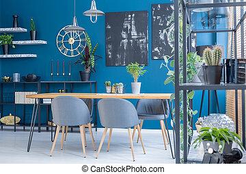 blauwe , het dineren, interieur, kamer