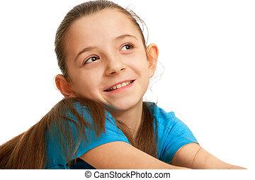 blauwe , het glimlachen meisje, mooi