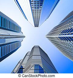 blauwe , highrise, glas, wolkenkrabber, kruising, lage hoek...