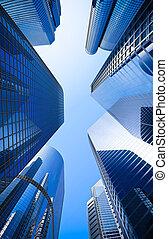 blauwe , highrise, hoek, glas, straat, wolkenkrabber, grit,...