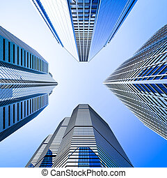 blauwe , highrise, hoek, glas, wolkenkrabber, grit,...