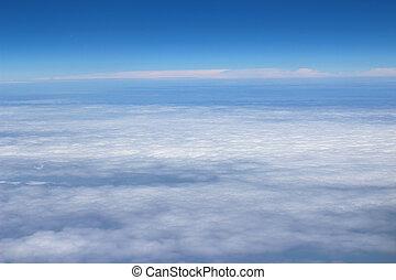 blauwe , hoge wolken, hemel, gedaantes, vliegtuig, aanzicht