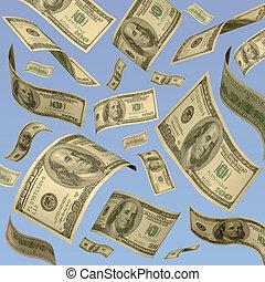 blauwe , honderd, sky., dollar, tegen, een, zwevend, ...