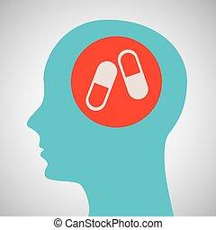 blauwe , hoofd, silhouette, capsule, ontwerp, geneeskunde, pictogram