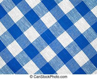 blauwe , horizontaal, gecontroleerde, tafelkleed, weefsel