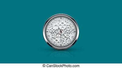 blauwe , horloge, achtergrond, pictogram