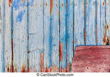 blauwe , hout, rood, textuur, paneel