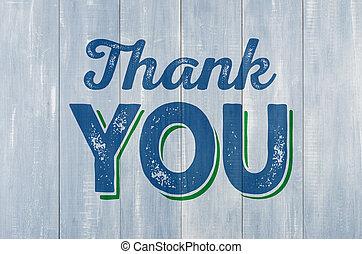 blauwe , houten muur, met, de, inscriptie, bedankt