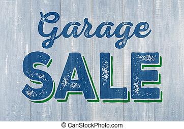 blauwe , houten muur, met, de, inscriptie, de verkoop van de garage
