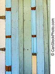 blauwe , houten muur, model