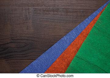 blauwe , houten, papier, jammed, groen rood